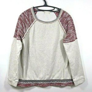 Altar'd State Pullover Red Embroidered Aztec Trim